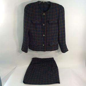 Doncaster Custom Sz 4 Skirt Suit Multicolor Tweed